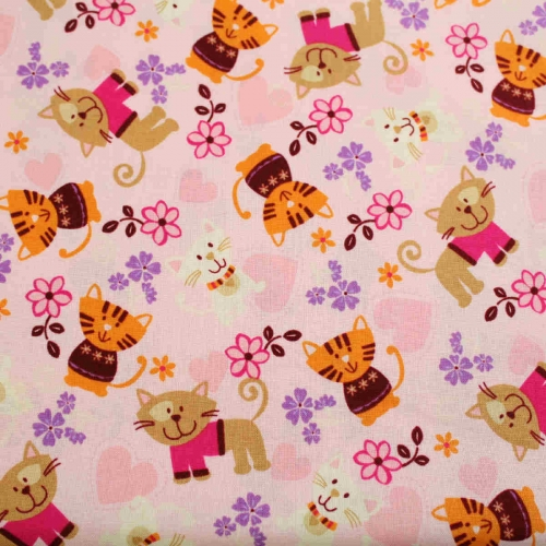 Joann Cats & Hearts 100% Cotton Quilting Craft Fabric