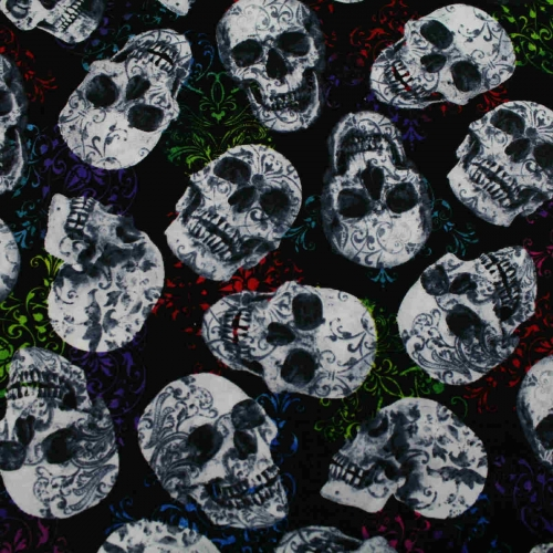 HI FASHION FOLKLORIC SUGAR SKULLS 100% Cotton Craft Quitting Fabric