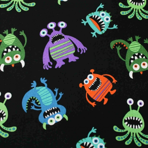 Joann Novelty Little Monster's Tossed 100% Cotton Quilting Craft Fabric