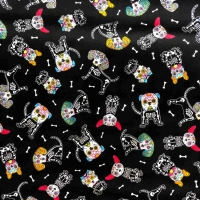 HI FASHION Sugar Skull Dog 100% Cotton Craft Quitting Fabric
