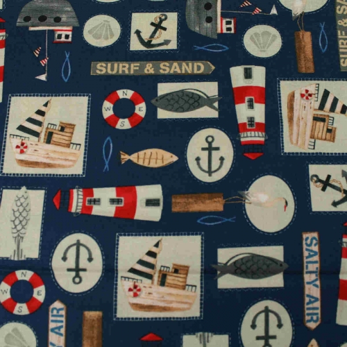 Harbor Days Anchor Collection By Blank Quilting 100% Cotton Quilting Bunting Fabric