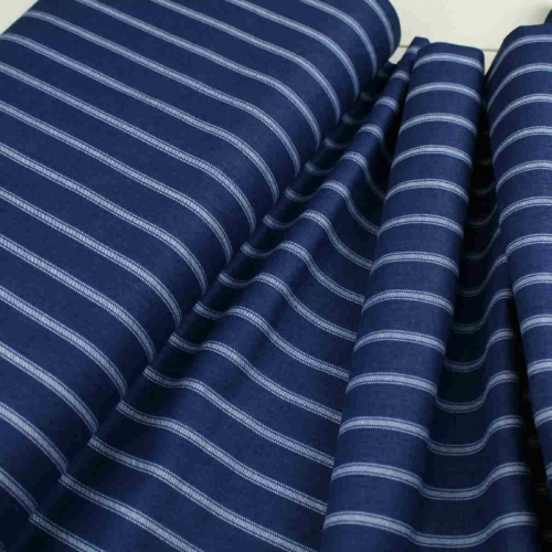 Riley Blake Navy Blue Stripe Cotton Craft Quilting Clothes Shirt Fabric