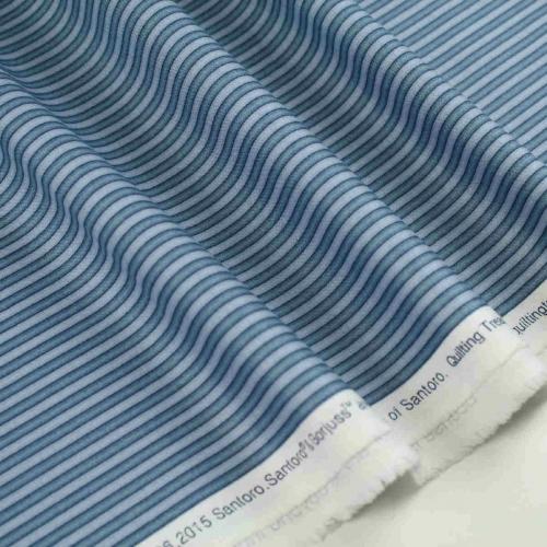 Santoro-London Gorjuss Dusty Blue Stripe 100% Cotton Craft Clothes Shirt Fabric