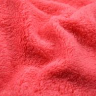 Faux fur simulated sheep plush fleece fabric - Salmon Pink (per meter)