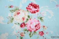 Vintage Pink & Yellow Roses 100% Cotton Fabric (per meter)