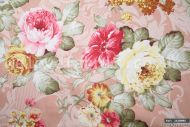 Pink & Yellow Cabbage Roses 100% Cotton Fabric (per meter)