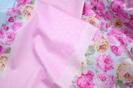 Pink & Yellow Roses Stripes Polka Dots 100% Cotton Fabric (per meter)