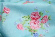 Pink Roses & Tiny Polka Dots 100% Cotton Fabric (per meter)