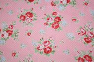 Pink Roses & Polka Dots 100% Cotton Fabric (per meter)