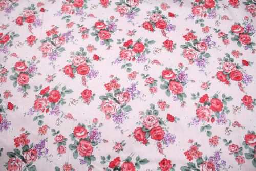 Small Pink Roses on Pink 100% Cotton Fabric (per meter)