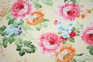 Pink & Peach Cabbage Roses 100% Cotton Fabric (per meter)