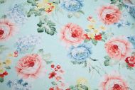 Pink & Blue Cabbage Roses 100% Cotton Fabric (per meter)