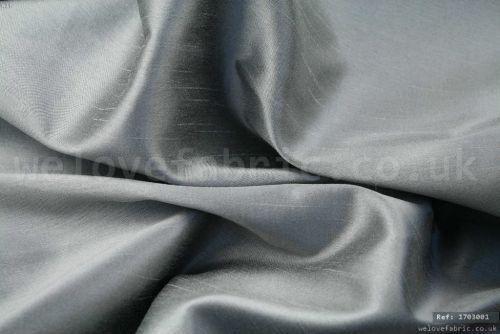 Plain Faux Silk Dupion 100% Polyester Grey (per meter)