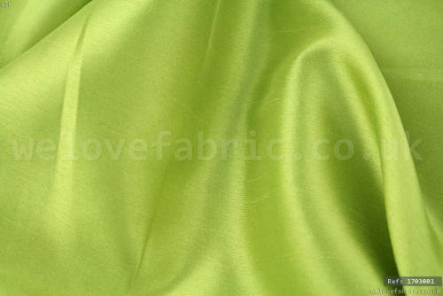 ea8285c4d53983 Plain Faux Silk Dupion 100% Polyester Lime Green - We Love Fabric