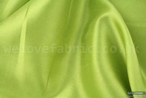 Plain Faux Silk Dupion 100% Polyester Lime Green (per meter)