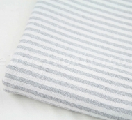 """Grey French Ticking Striped Cotton Linen Blend Fabric Premium Quality 55"""" Wide"""