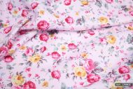 Pink & Yellow Rose Flowers 100% Cotton Fabric (per meter)