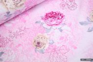 Pink Cabbage Rose Floral 100% Cotton Fabric (per meter)