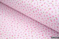 Small Pink Rose Flowers 100% Cotton Fabric (per meter)