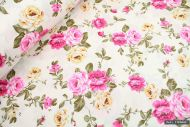 Pink & Yellow Flowers 100% Cotton Fabric (per meter)