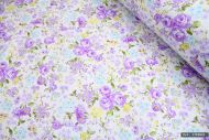 Lilac & Yellow Flowers 100% Cotton Fabric (per meter)