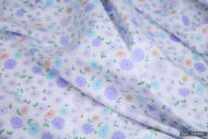 Small Lilac & Blue Flowers 100% Cotton Fabric | Low Price (per meter)