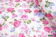 Vintage Pink & Lilac Flowers on Pink 100% Cotton Fabric (per meter)