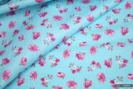 Pink Flowers on Blue 100% Cotton Fabric (per meter)