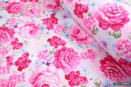 Vintage Pink Cabbage Roses 100% Cotton Fabric (per meter)