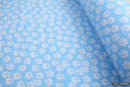 Tiny Daisies and Dots on Blue 100% Cotton Fabric (per meter)