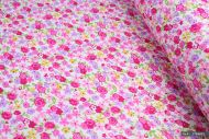 Tiny Pink & Yellow Flowers 100% Cotton Fabric (per meter)