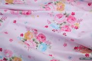 Pink, Yellow, Blue Cabbage Roses 100% Cotton Fabric (per meter)