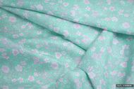 Pink & White Flowers on Green/Blue 100% Cotton Fabric (per meter)