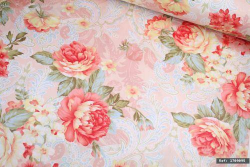 Vintage Pink Rose Floral 100% Cotton Fabric (per meter)