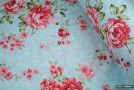 Pink Cabbage Roses on Blue 100% Cotton Fabric (per meter)