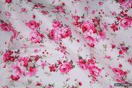 Pink Rose Floral 100% Cotton Fabric (per meter)