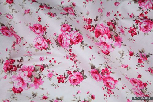 Pink Rose Floral 100% Cotton Fabric (per meter)