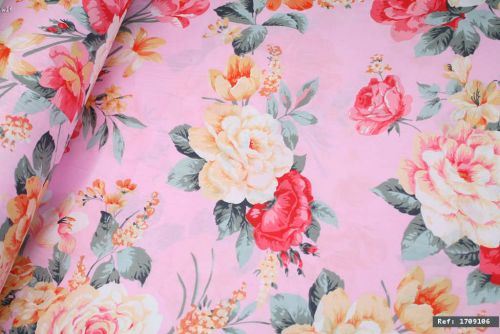 Big Pink & Yellow Flowers 100% Cotton Fabric (per meter)