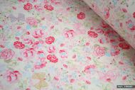 Pink Rose Flowers 100% Cotton Fabric (per meter)