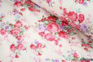 Vintage Rose Floral 100% Cotton Fabric (per meter)