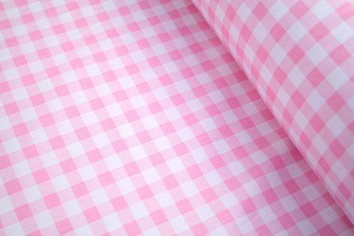 Pink Gingham 100% Cotton Fabric (per meter)
