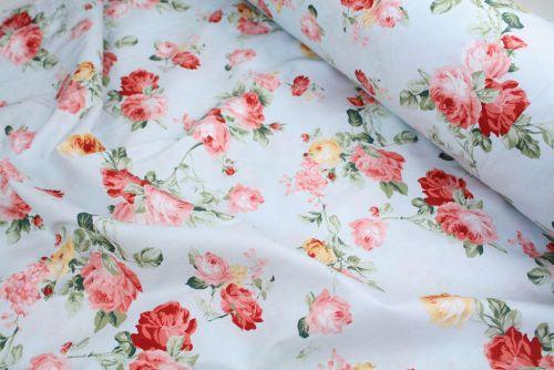 Pink & Yellow Roses 100% Cotton Fabric (per meter)