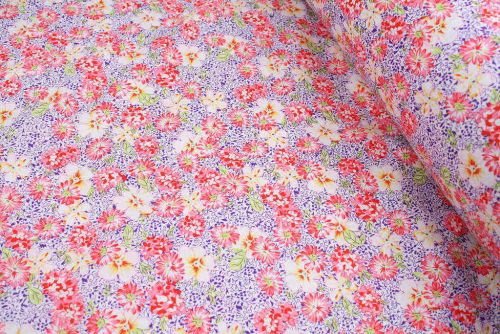Busy Pink Floral 100% Cotton Fabric (per meter)