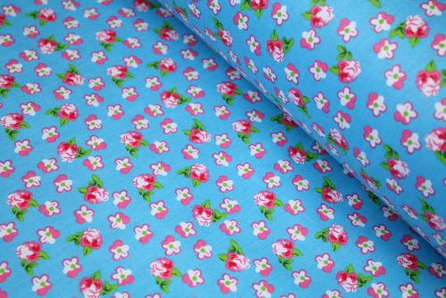 Small Pink & White Flowers 100% Cotton Fabric | Low Price (per meter)