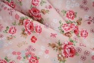 Classic Pink Rose Floral 100% Cotton Fabric (per meter)