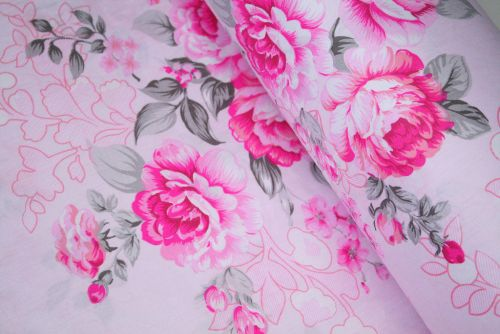 Large Pink Cabbage Roses 100% Cotton Fabric (per meter)