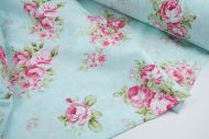Pink Rose Bunches 100% Cotton Fabric (per meter)