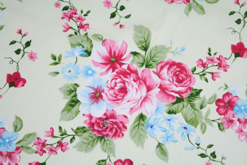 Pink & Blue Rose Floral 100% Cotton Fabric (per meter)