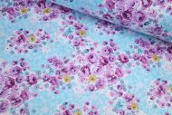 Small Lilac & Blue Flowers 100% Cotton Fabric   Low Price (per meter)