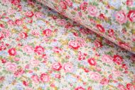 Pink, Blue, Yellow Roses 100% Cotton Fabric (per meter)